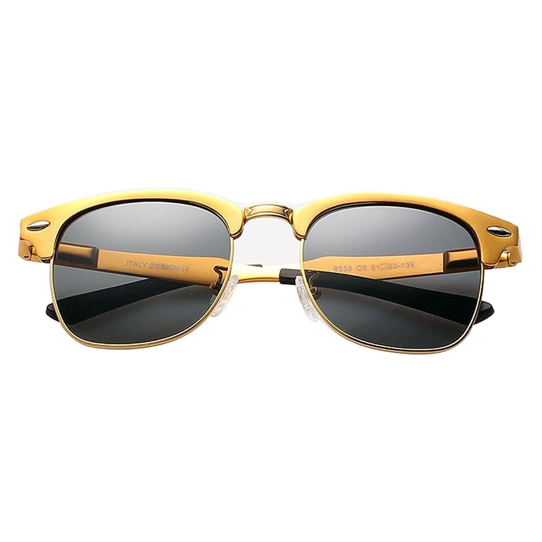 Gold Frame Black Lens 2015 Aluminium Mens Vintage Polarized Sunglasses Womens Retro Wayfarer Glasses