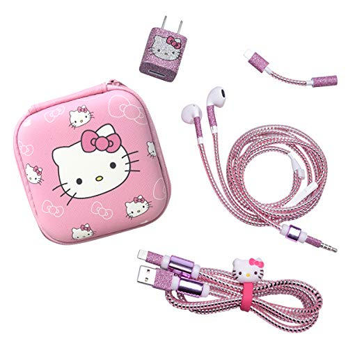 Dolopow Earbud Case Headphone Organizer Hard Shockproof Earphone Case Storage Bag for Earbuds Earphone Data Cable USB Charger Data LineEarphoneDIY WireSaver Protector - Hello Kitty (Kitty Hello Iphone Charger)
