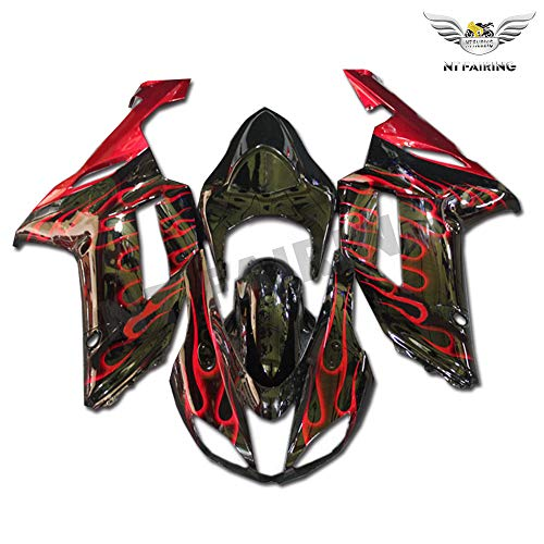 New Red Flames Fairing Fit for Kawasaki Ninja 2007 2008 ZX6R 636 ZX-6R Injection Mold ABS Plastics Aftermarket Bodywork Bodyframe 07 08