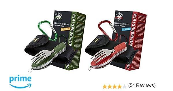 OUTDOOR FREAKZ Cubiertos para cámping Plegable - Vajilla de Exteriores de Acero Inoxidable con Bolsa de Neopreno (2pack: Red & Green): Amazon.es: Deportes y ...