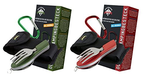 OUTDOOR FREAKZ Outdoor cutlery and camping cutlery foldable made of stainless steel (2pack: red & green)