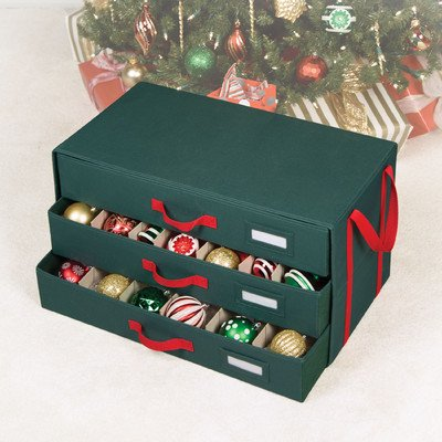 Richards Homewares Holiday 54 Compartment 3 Drawer Ornament Organizer Chest