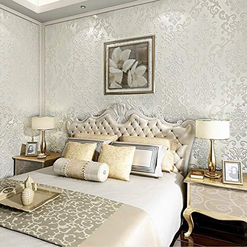 QIHANG European Style Luxury 3D Damask Pearl Powder Non-woven Wallpaper Roll Cream-white Color 0.53m x 10m=5.3㎡ by QIHANG (Image #1)