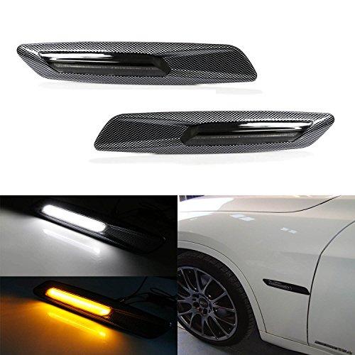 iJDMTOY BMW F10 Style White/Amber Switchback LED Light Carbon Fiber Checker Finish Side Marker Lamps For BMW E90 E92 E60 1 3 5 Series (E60 Carbon)