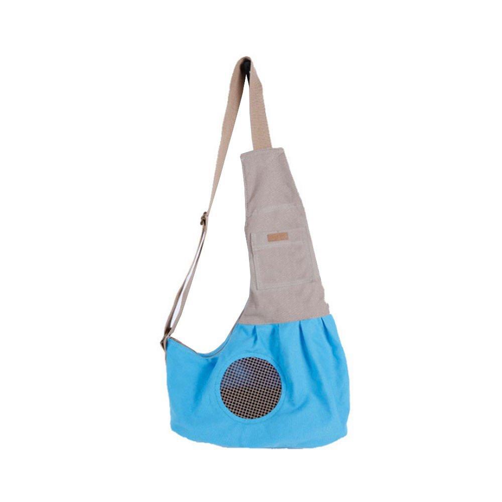 Eogro Sac de transport porté épaule/mains libres pour petit chien ou chat avec crochet intégré - Bleu