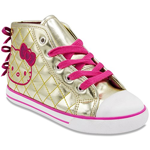 Hello Kitty Elena Gold Fashion Sneaker Lace Up Zip Up Quilted Design 11 Little Kids (Quilted Design)