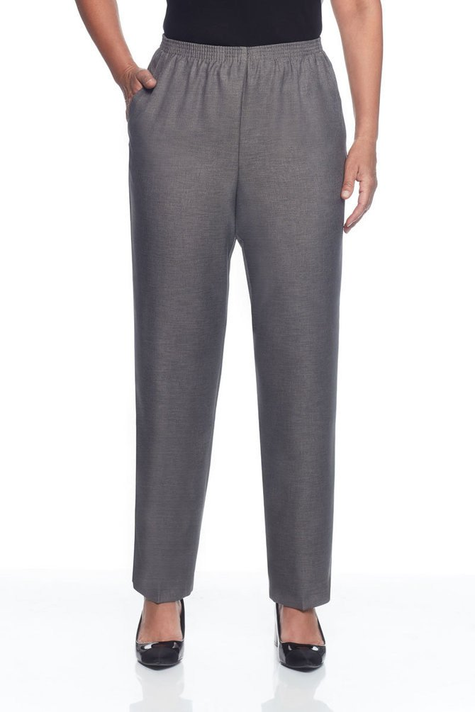 Alfred Dunner Petites' Pull-on Flat-Front Pants Gray 16P Short