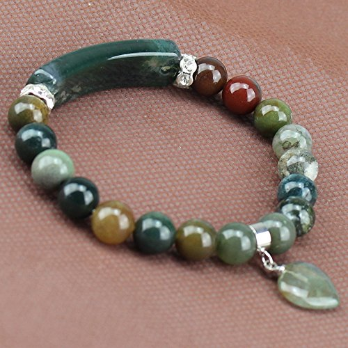 Handmade Gemstone Bange 7.2 Elastic Bracelet Match Heart-shaped Beads Indian agate