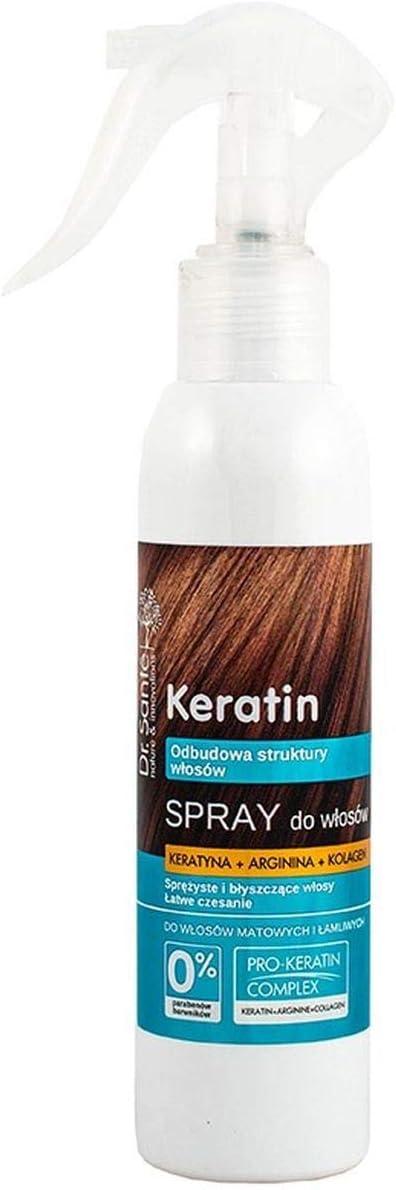 Serum en Spray Capilar Hidratante de Queratina (Keratina), Colágeno y Arginina para Pelo / Cabello Seco y Quebradizo Natural sin Parabenos Dr. Sante ...