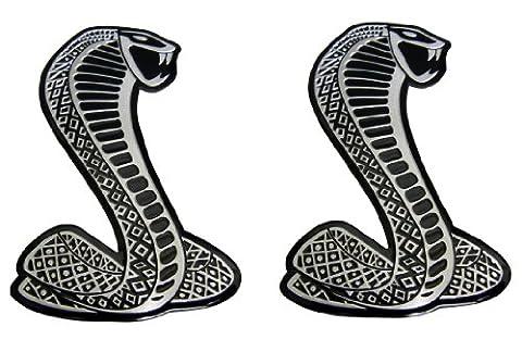 2 x Cobra Snake Aluminum Emblem Badge Nameplate Decal Logo Rare (pair/set of 2) for (Mustang Cobra Emblem)