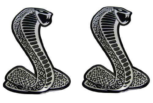 2 x Cobra Snake Aluminum Emblem Badge Nameplate Decal Logo Rare (pair/set of 2) for Ford Mustang Shelby GT GT500 SVT