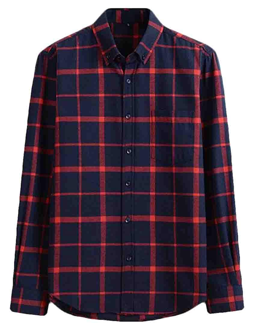 Domple Men Casual Regular Fit Cotton Long Sleeve Flap Pockets Button Down Checked Shirt