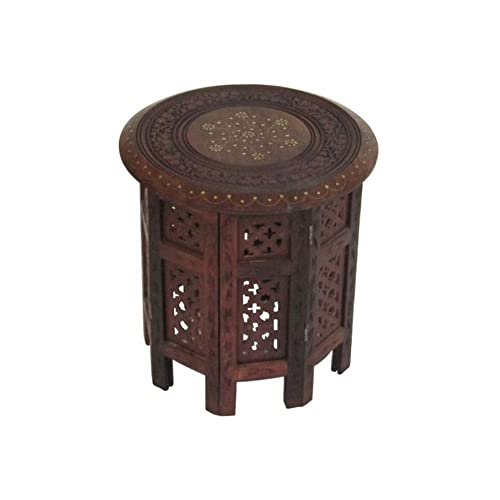 Carved Wooden Octagonal Table Brass Inlay – Nautical Decor