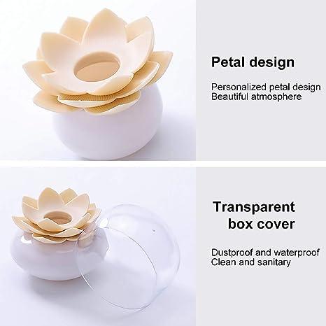 Techting Holder Flower Design Cotton fioc Contenitore di immagazzinaggio stuzzicadenti Contenitore tampone di organizzatore Tubo con Copertura Antipolvere Beige