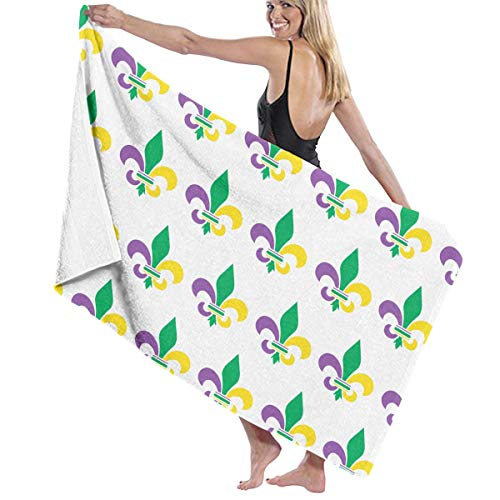 WAY.MAY Mardi Gras Fleur De Lis Bath Towel Bath Sheets Bath Wrap Beach Towel Shawl Bathrobe Hooded Towels Washcloths