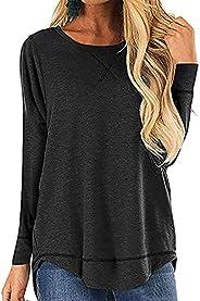 imrusan Women's Long Sleeve Loose Casual Fall Pullover Side Split Tunic Tops, S