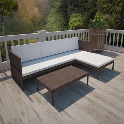 Patio sofá y Mesa de Exterior marrón ratán Muebles de jardín ...