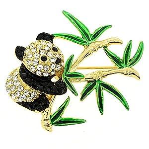 Panda Swarovski Crystal Pin Brooch