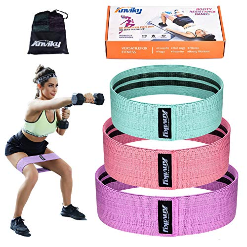 ANKIVY Booty Bands Fabric Resistance Bands for Legs and Butt Exercise Elastic Hip Bands 2019 Upgraded (Green Pink Purple Box-Packed)