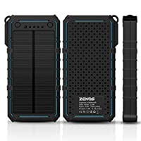 15600mAh Solar Charger -Premium Quality - Sunpower Portable charge External Battery with 2-Port Dual USB Backup Battery Pack Zenos MFW