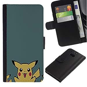 KLONGSHOP // Tirón de la caja Cartera de cuero con ranuras para tarjetas - P1Kachu Pixel P0kemon - HTC One M8 //