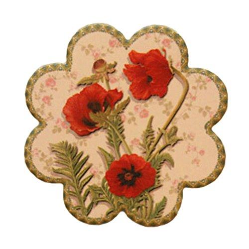 Set of 4 Flower Shapes, Villatic Ceramic Cup Coaster Tray Tea Cup Mat Place-mat