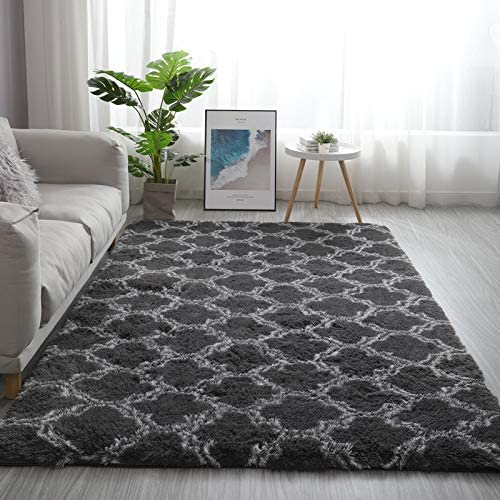Rainlin 5×8 Modern Fluffy Rug Gray Indoor Fuzzy Carpets Faux Fur Alfombras Anti-Slip Living Room Bedroom Trellis Geometry Pattern Rug