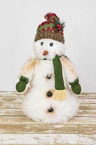 Woolly Snowman 18 x 11 Inch Fabric Tabletop Christmas Figurine -