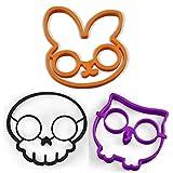 Tenta Kitchen Silicone Egg Ring Mold, Pancake Mold Set -Rabbit, Owl and Skull (Pack of 3) (Rabbit/Owl/Skull)