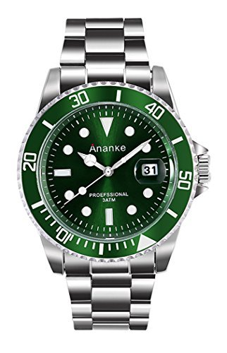 Men's Business Casual 30M Waterproof Wristwatch Quartz Analog Stainless Steel Case Wrist Watch Fashion Green/ Blue/ Black Dial With Date For Man (green)