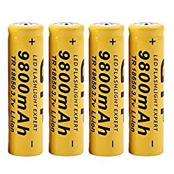 4 Packs Button Top Batteries High-Capacity 3.7V 9800mAH 18650 Lithium Rechargeable Battery for LED Lights/Toys/MP3/TV Remote Controls/Alarm Clocks/Flashlight Torch/not aa Battery, not Flat Top