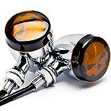 TASWK Pair of Skull Turn Signal lights Indicator for Harley Dyna Sportster Bobber Cruiser (Silver)