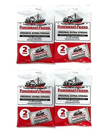 Fisherman's Friend Original Extra Strong Cough Suppressant Lozenges, 40-Count Bags (4 sets) by Fisherman's Friend