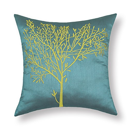 CaliTime Cushion Covers Pillows Shell Teal Ground Embroidered 18 X 18 Inches Gold Tree (Green And Burgundy Throw Pillows)