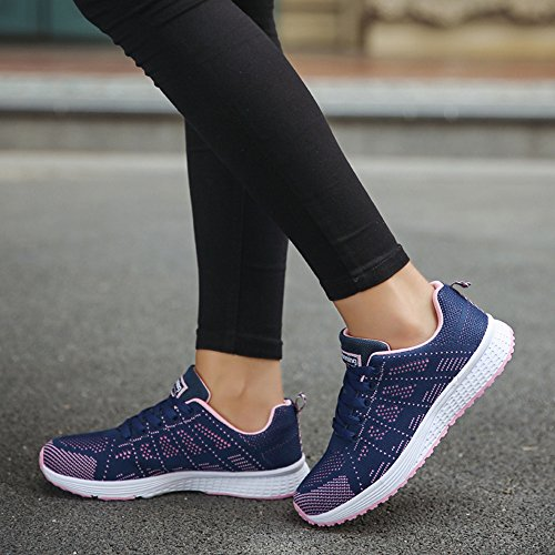 Casual Antideslizantes Senderismo Libre Mujer De Desgaste Suela Goma Para Los Zapatillas Mujer Aire Resistentes Zapatos Bobolover Al Oscuro Fitness Azul Zqc7R