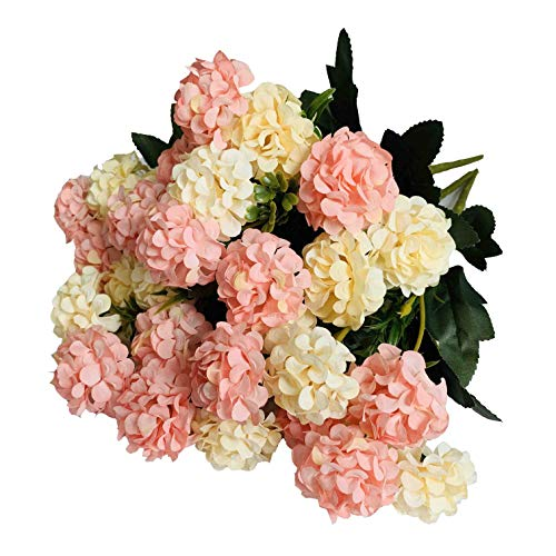 Kirifly Artificial Flowers,Fake Silk Mini Hydrangea Bulk Peony Flowers Wedding Decoration Bouquet Decor Plastic Flower Arrangements Table Centerpieces 3 Packs(Cream Pink)