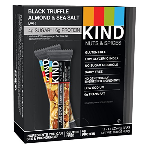 KIND Bars, Black Truffle Almond & Sea Salt, Gluten Free, 1.4 Ounce Bars, 12 Count