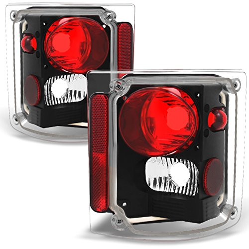 For 1978-1991 GMC Jimmy Chevy 1500 Blazer Left + Right Full Size Left + Right Black Tail Lights Assembly