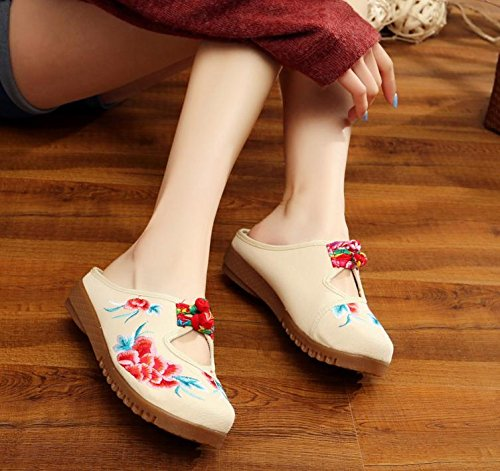 comodi unico meters infradito ricamate stile scarpe Chnuo tendine sandali casuali etnico white femminile moda donna Scarpe Ballerine v7qXZw