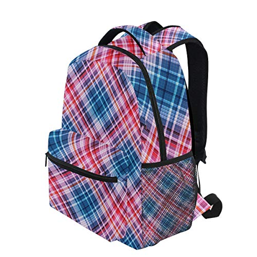 - KVMV Checkered Pattern of Interwoven Multicolored Thin Strips-453379369 Lightweight School Backpack Students College Bag Travel Hiking Camping Bags
