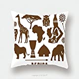 Custom Satin Pillowcase Protector Africa Icons Set 495521125 Pillow Case Covers Decorative