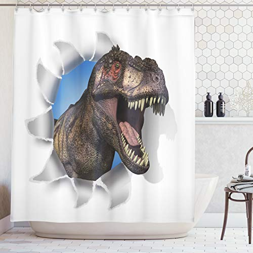Ambesonne Jurassic Decor Collection, A Tyrannosaurus Rex Pokes His Head Through Paper Wall Dinosaurs Extinct Large Image, Polyester Fabric Bathroom Shower Curtain Set with Hooks, Olive White ()