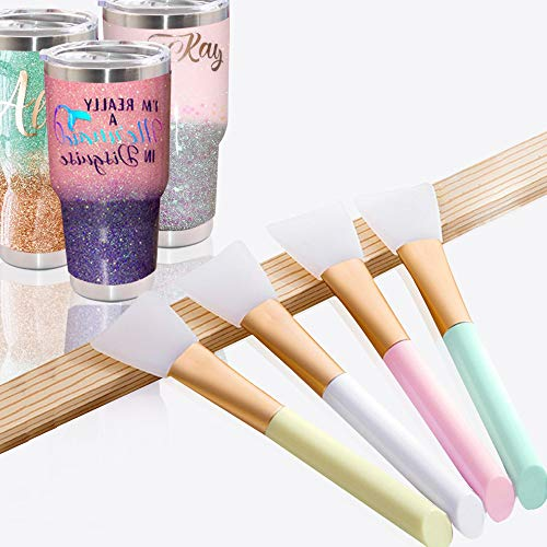 4 Pcs Magic Epoxy Brushes for Glitter Tumbler, USLINSKY Flexible Epoxy Sticks for Even Smooth Application, Easy Clean Tumbler Pens for DIY Mixing, Spreading Epoxy Resin to Bling Tumbler Cup, Mug