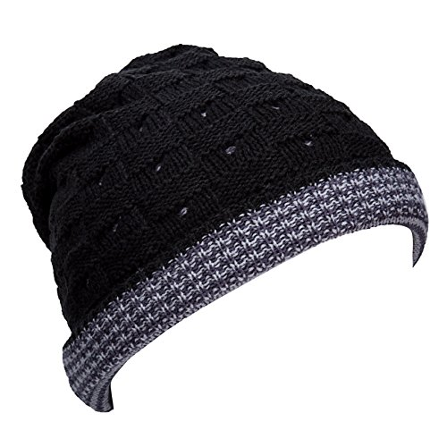 YCHY Men's Stylish Slouch & Comfort Hat Hollow Star Warm Knit Cap Beanie Hat (Black) (Ranger Adult Accessory Kit)