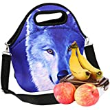 """iColor Neoprene Lunch Bag, insulated lunch box with removale Shoulder Strap, Thermal Thick Lunch Tote Bag,Large Size[13""""x 12.76""""],Reusable Bags for Adults,Kids - Great for Travel,Outdoors, Work,School & More YLLB-001"""