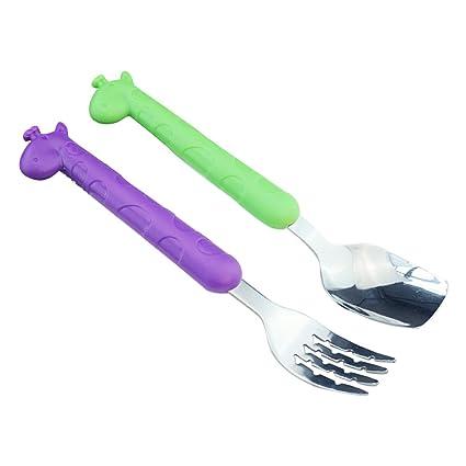 Isuper Juego de Cubiertos y Tenedores para Niños de Acero Inoxidable de Pequeñas Dimensiones 6 Piezas Set 1 (Jirafa)