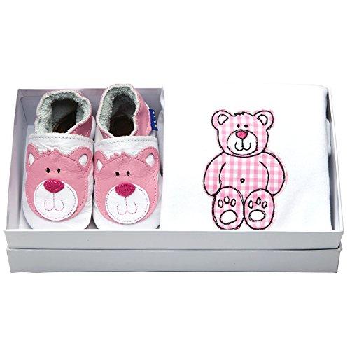 Inch Blue Mädchen/Jungen Baby-Geschenkset - Lederschuhe & Strampler aus Baumwolle - Mit Stickerei verziert - Teddy Weiß/Rosa