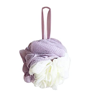 Soft Bathroom Scrubbing Tool Accessories Shower Sponge Pouf Mesh Ball Exfoliating Scrubber (one Size, Purple): Clothing