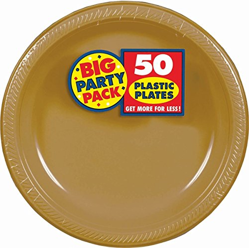 Amscan Big Party Pack 50 Count Plastic Lunch Plates, 10.4-Inch, Gold Fun Lunch Plates