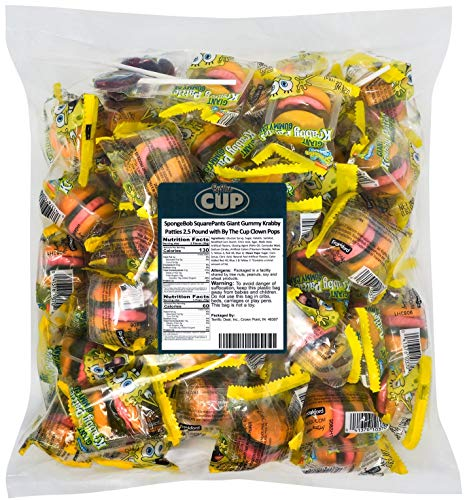 Gummy Krabby Patty (SpongeBob SquarePants Giant Gummy Krabby Patties 2.5 Pound with By The Cup Clown)